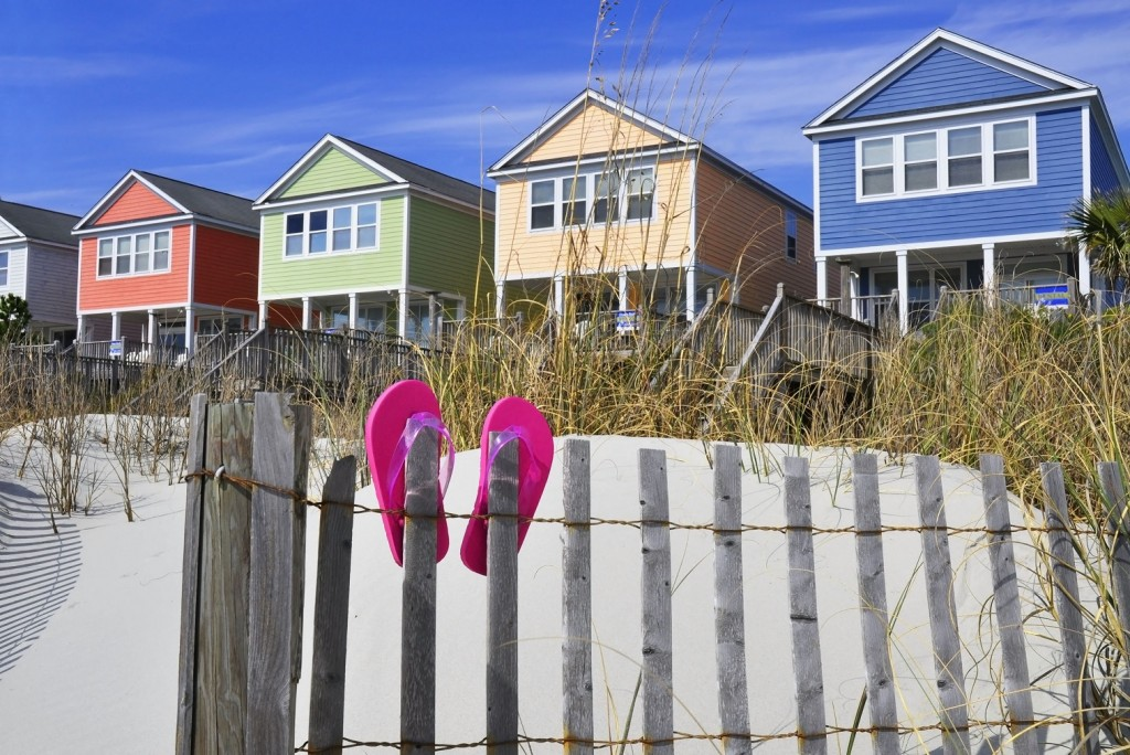 colorful houses on beach