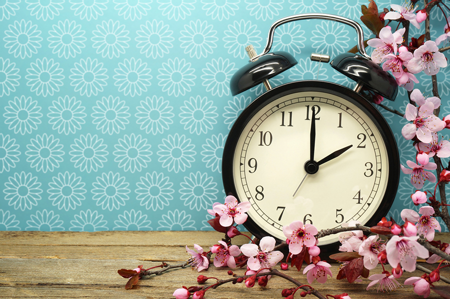 image of clock on table with wallpaper and flowers
