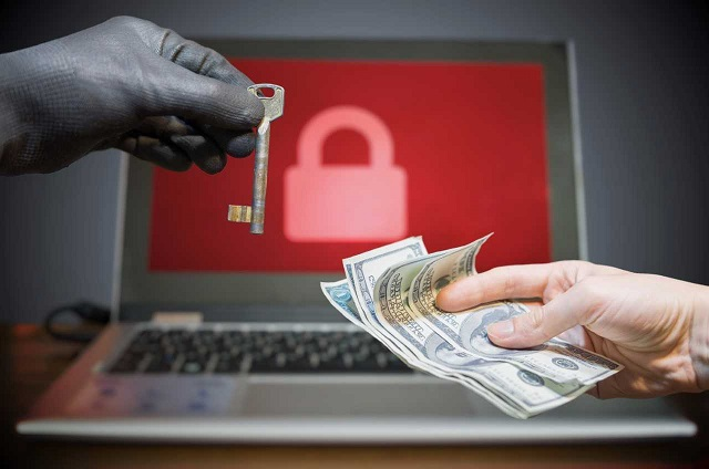 image of laptop with lock graphic, gloved hand with key, and woman's hand with cash