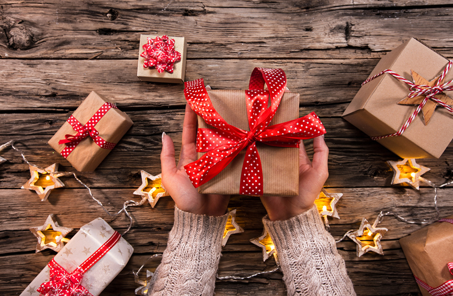image of holiday presents wrapped