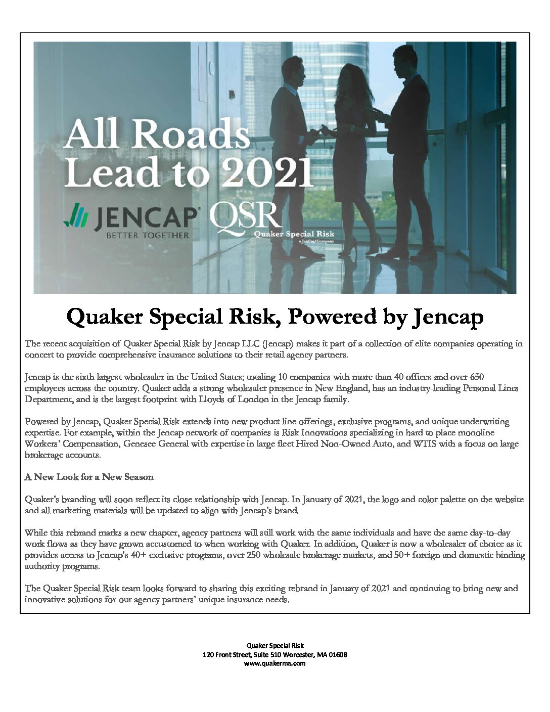 Quaker Special Risk Powered by JenCap